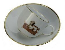 Meissen Porcelain Dog Figurine - Pug on Cup and Saucer Limited Edition l